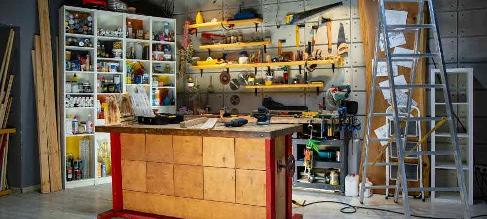 workbench in woodworking shop